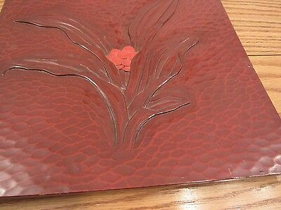 """Vintage hand carved Japanese tray Lily plant design relief 11""""x11"""" stamped"""