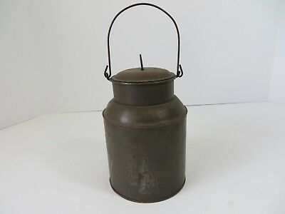 Vintage Primitive Steel Pail Can Bucket Lunch Milk Water Wire Bail #7082