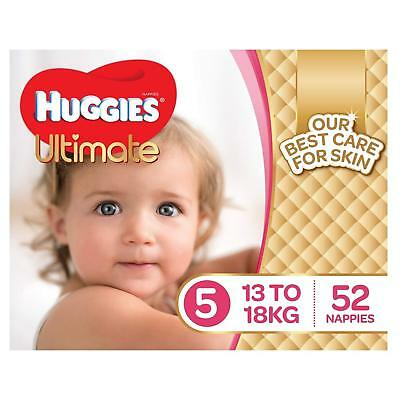 Huggies Ultimate Nappies for Girls, 52pk Size 5 Walker (13-18kg)