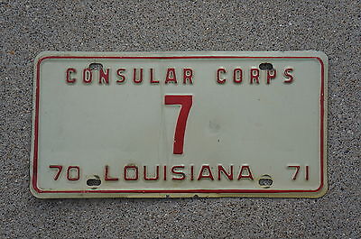 1970 1971 Louisiana Consular Corps License Plate 1 Digit Low Number # 7