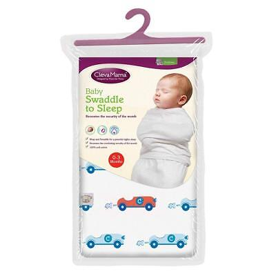 Clevamama Baby Swaddle to Sleep Wrap (Blue) 0-3 Months - RRP £10.49