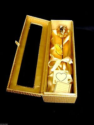 Birthday Gift - 12 Inch 24K Gold Dipped Rose in a Gold Egyptian Box W/Window NEW