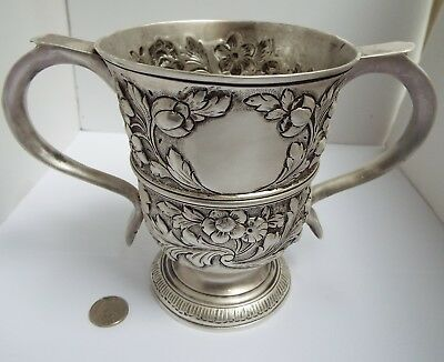 Superb Lrge Heavy English Antique Georgian 1759 Solid Sterling Silver Trophy Cup