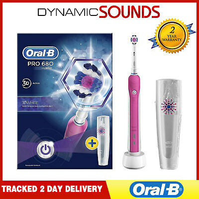 Oral-B Pro 680 3D White Electric Rechargeable Toothbrush & Travel Case in Pink