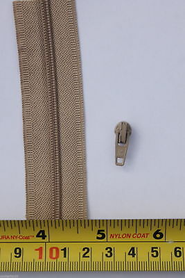 3 METRES TOP QUALITY No3 CONTINUOUS BEIGE CHAIN ZIP /& 3 prefitted SLIDERS
