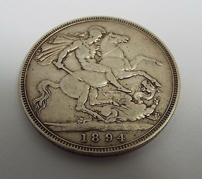 Fine Large English Antique Victorian 1894 Solid Sterling Silver One Crown Coin
