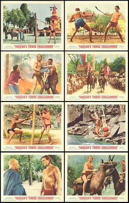 TARZAN'S THREE CHALLENGES orig 1963 lobby card set JOCK MAHONEY 11x14 posters