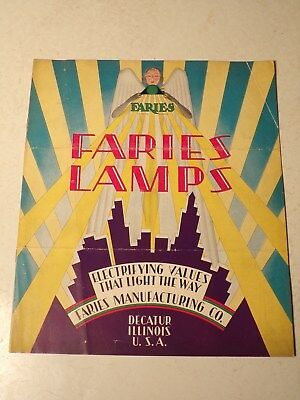 Original Vintage 1920's Faries Lighting Lamp Catalog In Color