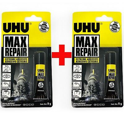 UHU Max Repair Transparent Extreme Adhesive – Solvent Free - 8g Tube - Twin Pack