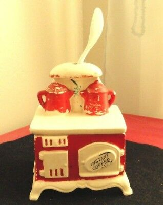 Vintage Ceramic Antique Red Stove Instant Coffee Container~Lego Japan