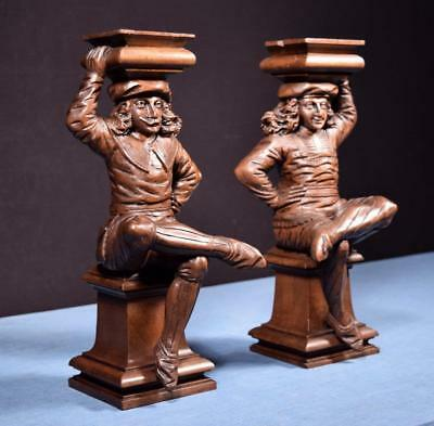 "*15"" Pair of Antique Carved Figures/Support Posts Pillars Architectural Walnut"