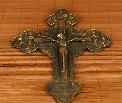 Big Chinese Old Bronze Handmade Carved Cross Statue Netsuke ornament collectable