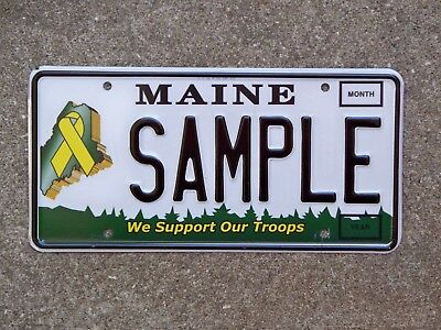 Maine WE SUPPORT OUR TROOPS Sample License Plate Yellow Ribbon On Maine Outline