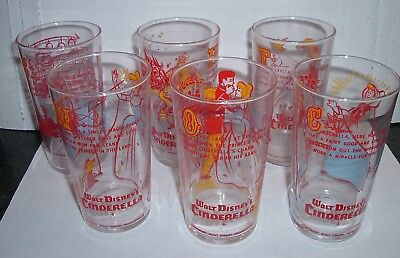 SET OF 6 VINTAGE 1930S Movie Tie in promo WALT DISNEY, CINDERELLA GLASSES