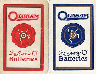 "Pair of RARE VINTAGE ""Oldham (The Lively O) Batteries"" SINGLE Playing Cards"