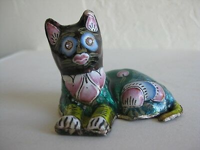 Vtg Indian Enameled Painted Sterling Silver Cat Statue Figurine Cloisonne India