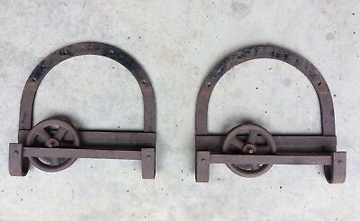 "Antique Vintage Pair 12"" Sliding Hanging Barn Door Hardware Roller Horseshoe"