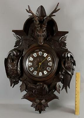 Antique 19thC Carved Walnut, Black Forest Wall Clock Game Birds Fish, Deer Head