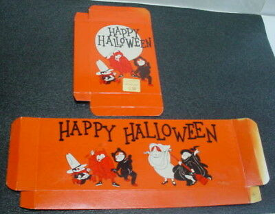 Vintage NOS Unused Russell Stover Box HALLOWEEN BLACK CAT DEVIL COWBOY Costumes