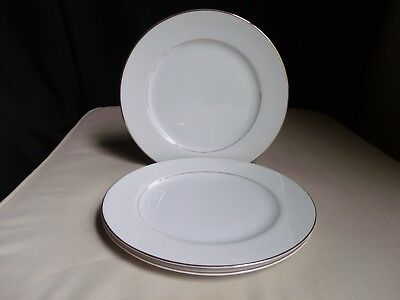 Embassy Japan Touch Of Gold China White Lace Floral Scroll Set 3 Dinner Plates A