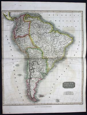 1814 South America Brazil Chile Peru Argentinia Colombia map Karte Thomson