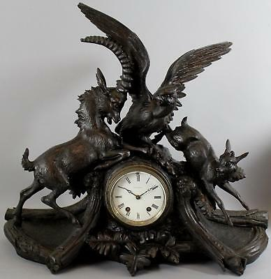 Antique German Black Forest Carved Walnut Goat Bird Mantle Seth Thomas Clock NR