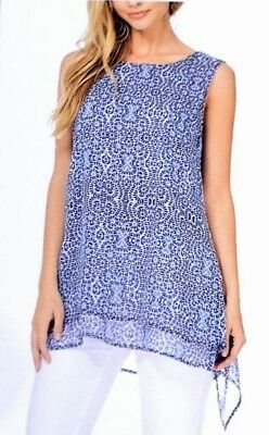 NWT Fever Ladies' Double Layer Tank Top Tunic Cobalt Blue Print Sleeveless SMALL