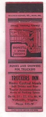 Truckers Inn, Home Cooked Meals Rt. 21-52, Wytheville VA Wythe Matchcover 080718