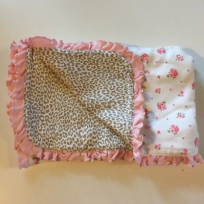 Carters Pink Gray Cheetah Leopard Animal Print Baby Blanket Ruffle Stripe Hearts