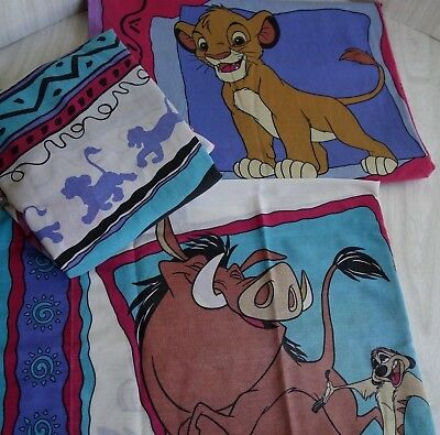 Vintage 90s Disney Lion King Twin Pillowcase, Fitted & Flat Sheets USA