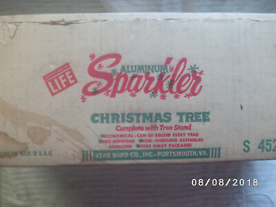 Vintage Sparkler Aluminum Christmas tree 4 foot in box complete