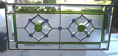 Green Blue Stained Gl Panel Beveled Transom Beautiful Prisms Accents