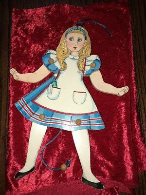 Vintage Laughing Moon Toymakers Collection Alice In Wonderland Wooden Toy Doll