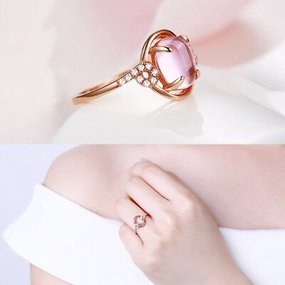 Elegent Women Opal Crystal Rose Gold Wedding Party Ring Fashion Jewelry New