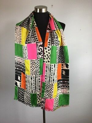 Vintage Vera Neumann Scarf Multi Color Patchwork Handscreened Pure Silk USA Made
