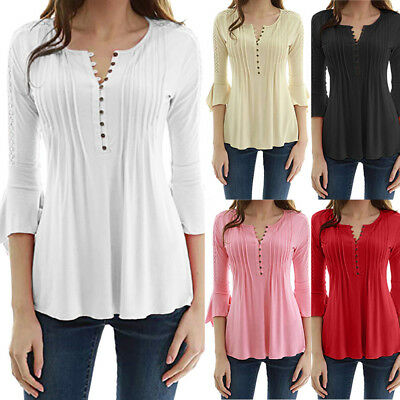 3645abc572988 Women Ladies Flare 3 4 Sleeve Summer Loose V Neck Buttons Blouse Tops Shirt  Tee