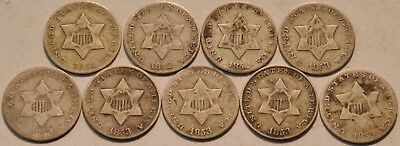 Lot of (9) Three Cent Silver Coins 1851 1852 1853, Scarce Type Coins, 3CS
