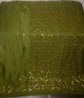 Antique Vintage Hand Embroidered Golden Zari Sequins Beaded Fabric Sari Saree