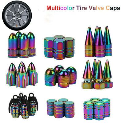 Car Wheel Tyre Air Valve Rainbow Metal Bullet Exterior Stems Dust Cover Cap Lot