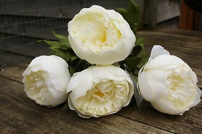4 x IVORY SILK PEONY FLOWERS  8cm LONG WIRED STEMS WEDDING ROSES CRAFT