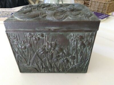 Antique? Silver Metal Chinese Lidded Box-Water Lilies and Dragon - Heavy 2kg-A/F