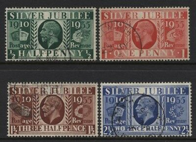 1935 ½d-2½d SILVER JUBILEE SUPERB USED SET OF FOUR STAMPS. SG 453-6
