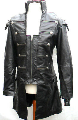 HAND MADE Mans 100% REAL LEATHER Black Steampunk Jacket Coat  GOTH PUNK ROCK