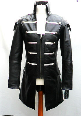 HAND MADE Mens Mans 100% REAL LEATHER Black Steampunk Jacket Coat  GOTH