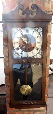 Vintage 70's chiming President mechanical wall clock in a wooden cabinet-31 day
