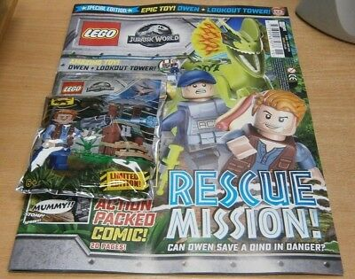 Lego Specials magazine Jurassic World #2 2018 + Owen Minifigure toy + Tower