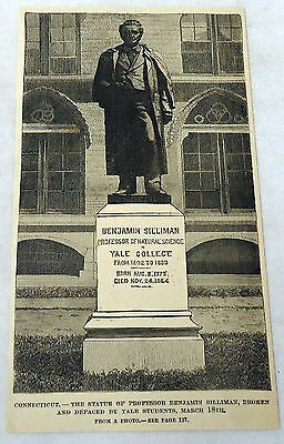 1889 magazine engraving ~STATUE OF BENJAMIN SILLIMAN defaced by Yale students CT
