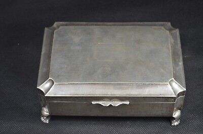 Antique Silver Tuck Chang Hallmarked Large Footed Cigarette Box 20.5 x 14x8.5 cm