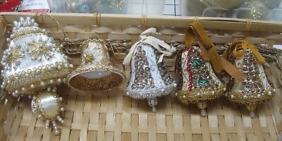 Collection of 5 Vintage Christmas Tree Ornament Bells Sequins & Beads