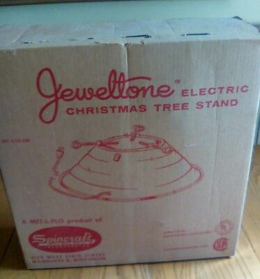 RETRO 1950s VINTAGE SPINCRAFT ELECTRIC JEWELTONE CHRISTMAS TREE STAND IN BOX